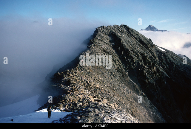 Mist on the Marzellkam ridge, Ötztal Alps, Austria - Stock Image