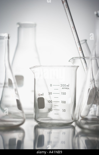 Still life of beakers in lab - Stock Image