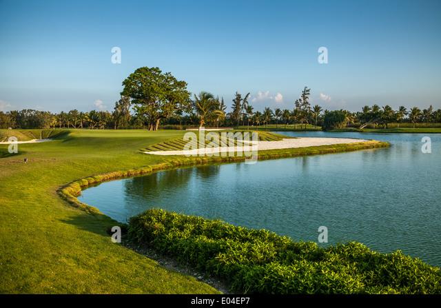 Tropical golf course at sunset, Dominican Republic, Punta Cana - Stock-Bilder