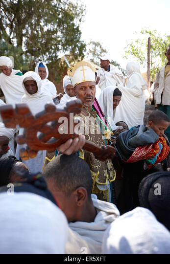 Sunday Mass, monolithic church Bete Medhane Alem, Church of St. George, Lalibela, Amhara region, Ethiopia - Stock Image