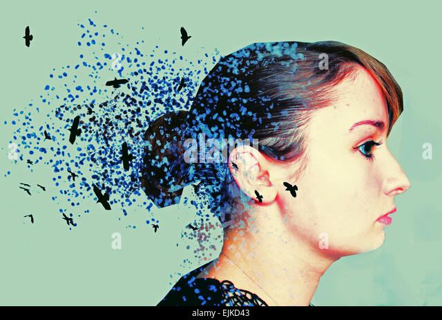 black and white photography, paint splatter, abstract art, artistic photography, birds, disperse, beauty, pretty, - Stock Image