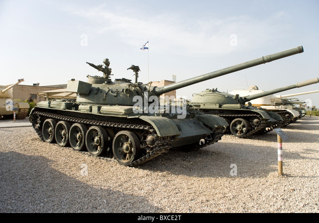 T55 Tank used by the Syrian in the Yom Kippur War at the Israeli Armored Corps Museum at Latrun, Israel - Stock Image