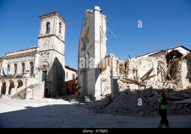 Norcia (Perugia) 6.5 magnitude earthquake hit central Italy on Sunday 30 October, causing no victims, but destroying - Stock Image