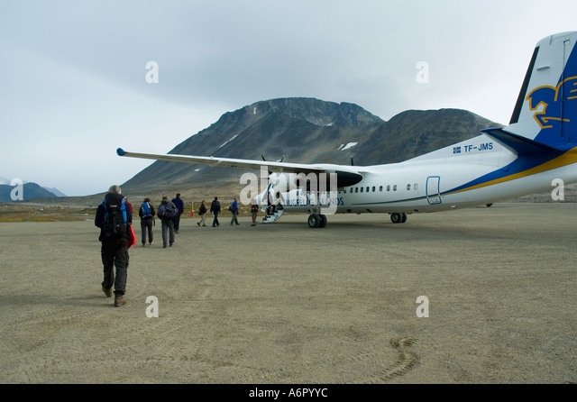 Boarding an aircraft at Kulusuk, Kap Dan airfield, East Greenland - Stock Image