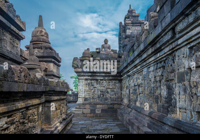 Reliefs of Borobudur temple in Indonesia. - Stock Image