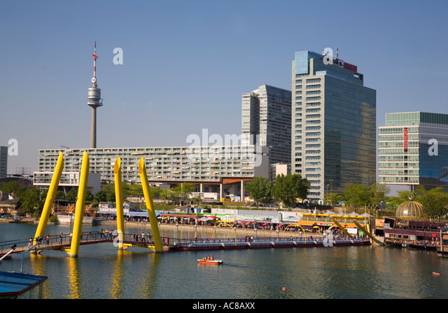 Vienna Donau Island footbridge Danube Island background UNO City - Stock Image