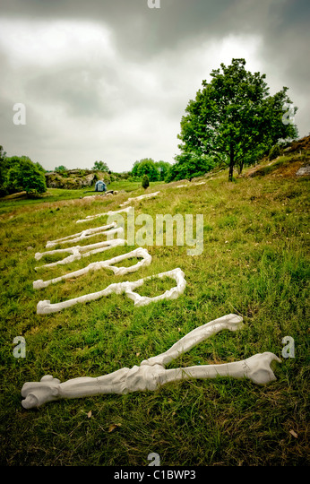 Contemporary sculptures, Pilane Burial ground, Pilane, Western Sweden, Sweden, Europe - Stock Image