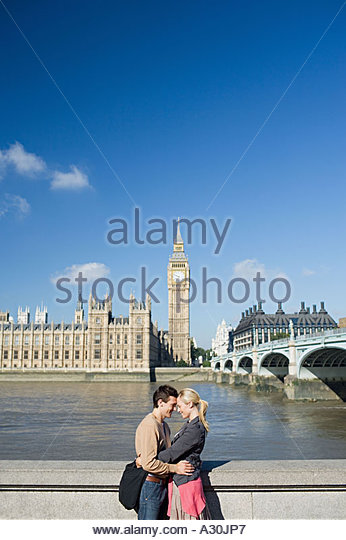 Couple by River Thames - Stock Image