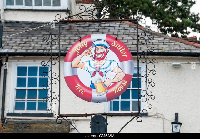 Pub sign for the Jolly Sailor in Maldon, Essex. - Stock Image