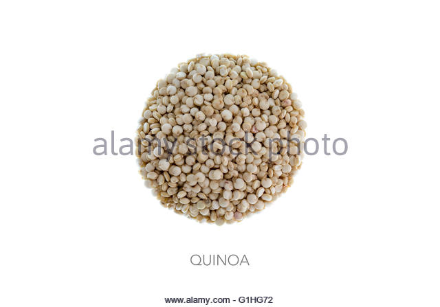 Food round bal ingredients minimalist quinoa grain - Stock Image
