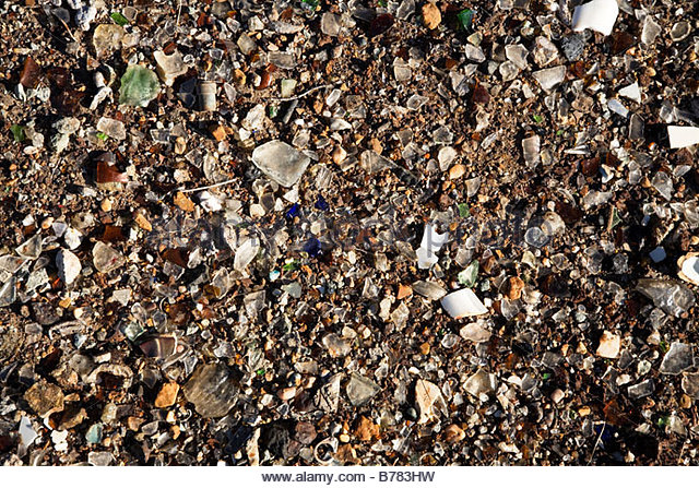 Texture background broken glass gravel - Stock Image