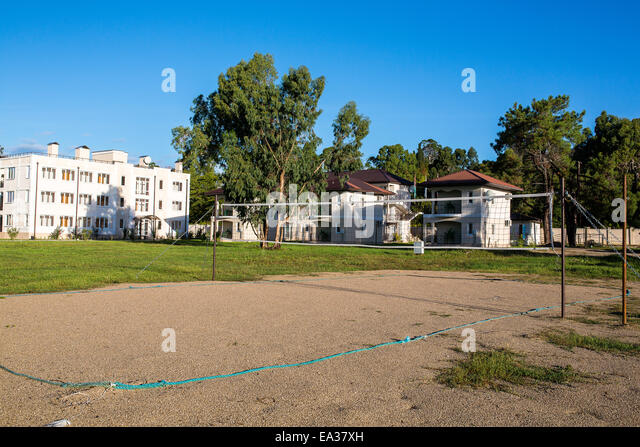 Open volleyball playground, New Athos, Abkhazia - Stock Image