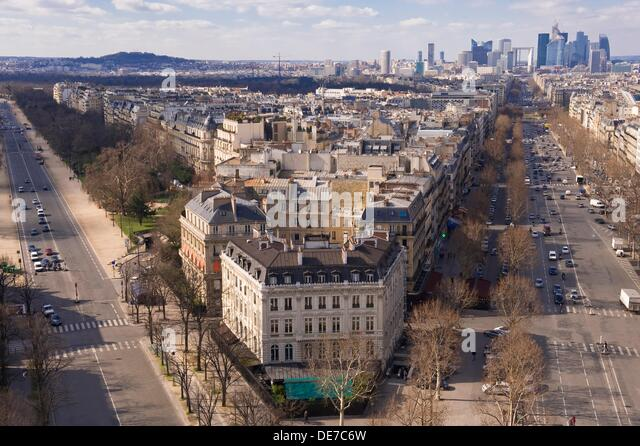 View over the building at the corner of Grande Armee und Foch Avenue, Paris, France - Stock Image