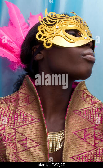 Woman wearing mask - Stock Image