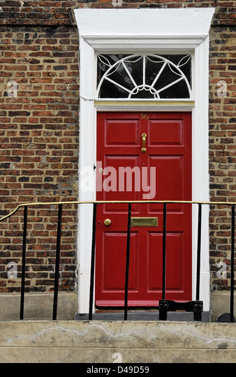 Georgian doorway, Durham, England - Stock Image