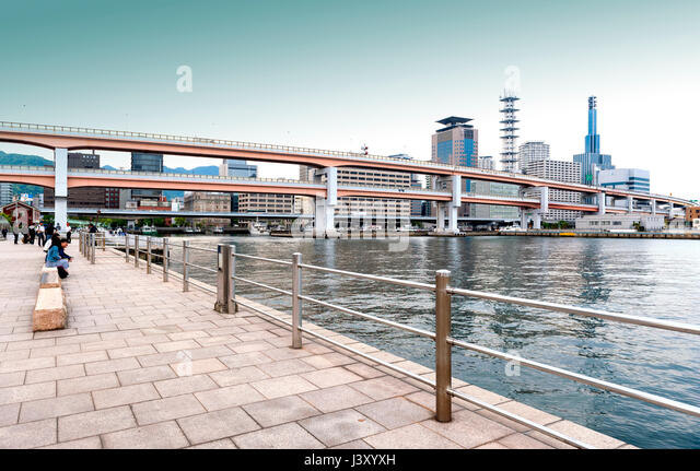 Kobe, Japan - April 2016: Elevated expressway at Meriken Park, near Kobe Port Earthquake Memorial Park, Hyogo Prefecture, - Stock Image