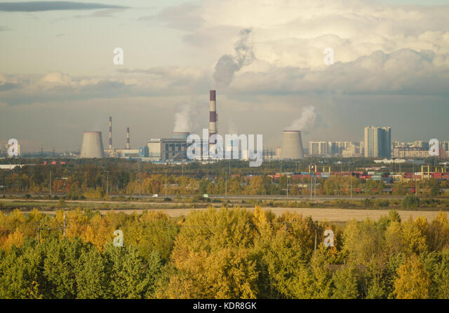 St,Petersburg, Russia - October 07, 2017: View fom hill on industrial part of Saint Petersburg with power plant - Stock Image
