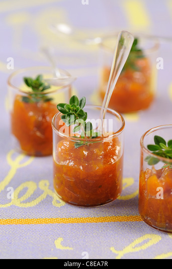 Stewed apricots with honey and lemon-thyme - Stock Image