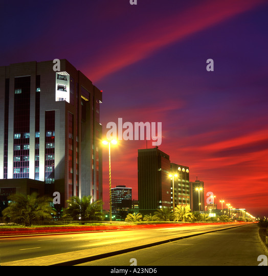 The King Faisal Highway at Sunset Manama Bahrain Persian Gulf Middle East - Stock Image