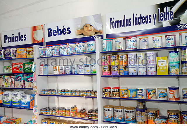 Cancun Mexico Yucatán Peninsula Quintana Roo Mercado 28 shopping pharmacy drug store baby products formula - Stock Image