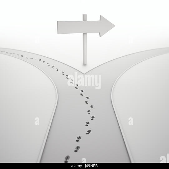 On the crossroads - individuality concept 3D illustration - Stock-Bilder