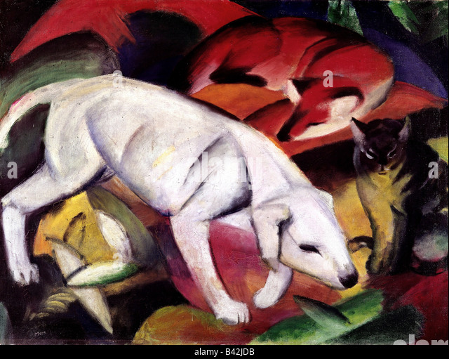"fine arts, Marc, Franz, 8.2.1880 - 4.3.1916, painting, ""Dog, fox and cat"", (Hund, Fuchs und Katze), 1912, - Stock Image"