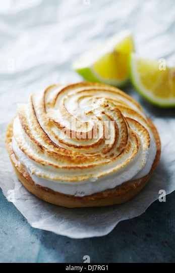 fresh lemon meringue pie - Stock Image