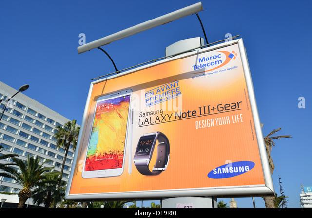 Advertising hoarding, Place des Nations Unies, Casa-Anfa District, Casablanca, Grand Casablanca Region, Kingdom - Stock Image