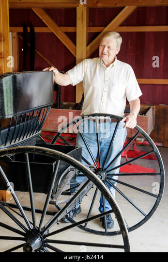 Indiana Portage Countryside Park Alton Goin Historical Museum regional history heritage man senior horse-drawn carriage - Stock Image