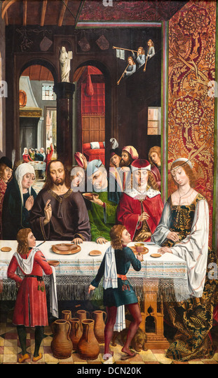 15th century  -  The Marriage at Cana, 1495 - Master of the Catholics Kings Philippe Sauvan-Magnet / Active Museum - Stock-Bilder