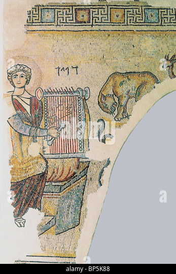 MOSAIC FLOOR FROM THE 4TH. C. A.D. SYNAGOGUE IN GAZA, DEPICTING KING DAVID PLAYING THE LYRE. HEBREW LETTERS ABOVE - Stock Image
