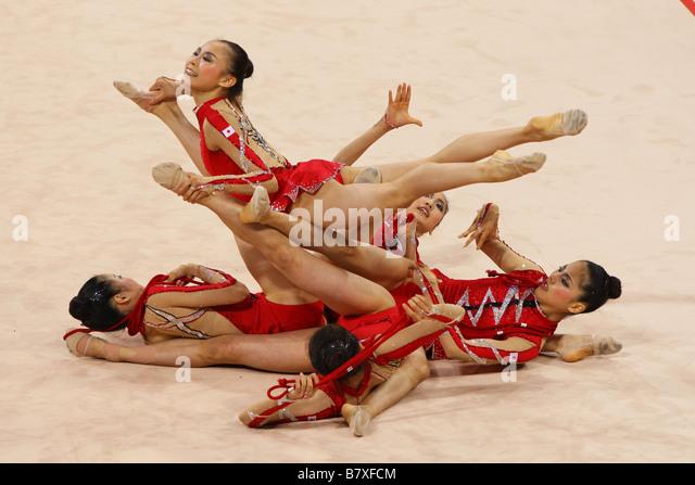 Rhythmic Gymnastics Japan National Team Group JPN AUGUST 21 2008 Rhythmic Gymnastics Beijing 2008 Olympic Games - Stock Image