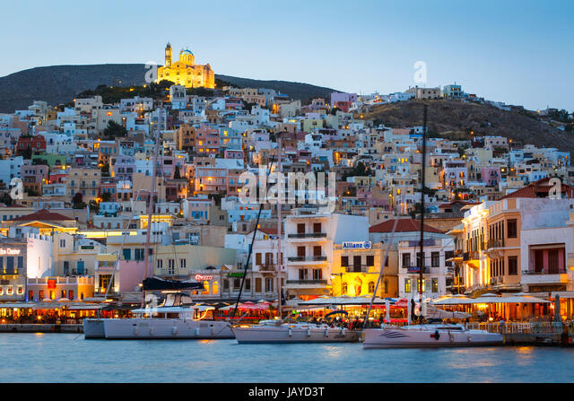 Ermoupoli town on Syros island in Greece early in the morning. - Stock Image