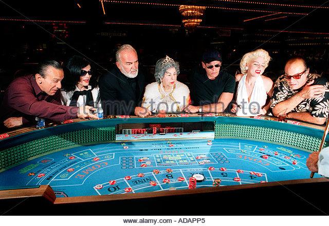 Queen Elizabeth, Marilyn Monroe, Jack Nicholson, Robert De Niro, Sean Connery, Jackie Onassis at celebrity lookalikes - Stock Image