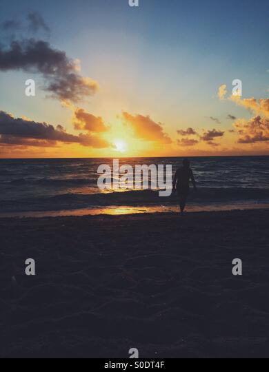 Sunrise in Miami Florida - Stock Image