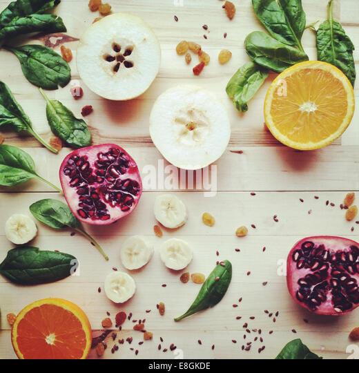 Sliced Fruit, Seeds And Vegetables - Stock Image