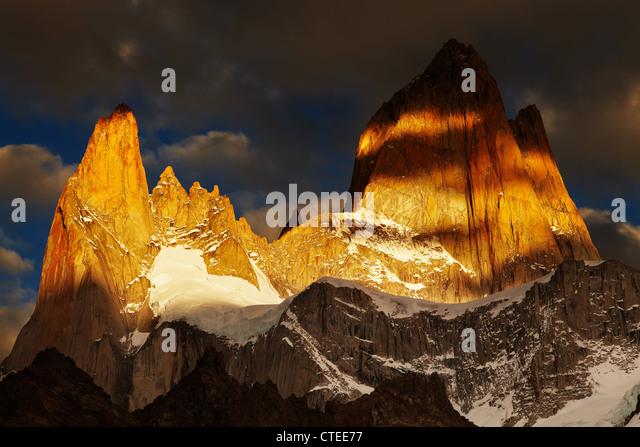 Mount Fitz Roy, Dramatical sunrise, Patagonia, Argentina - Stock Image