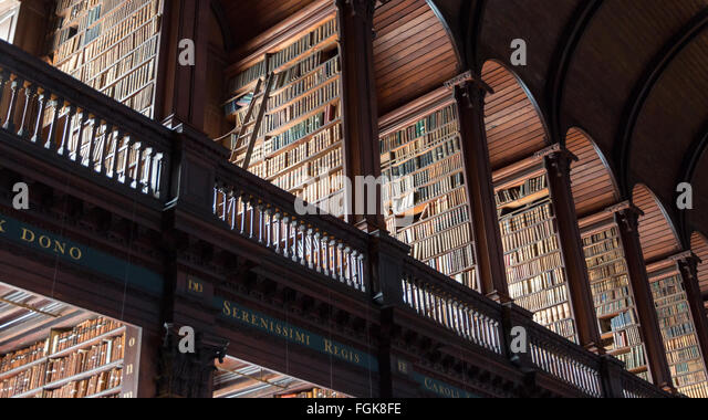 The Long Room library in the Trinity College. Trinity College Library is the largest library in Ireland - Stock Image