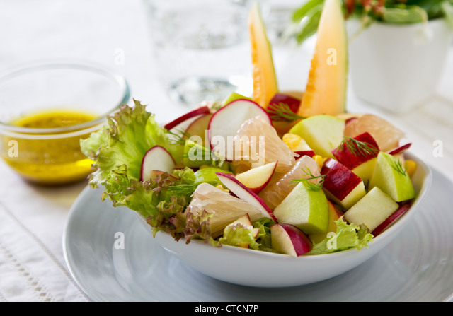 Apple ,corn and melon salad - Stock Image
