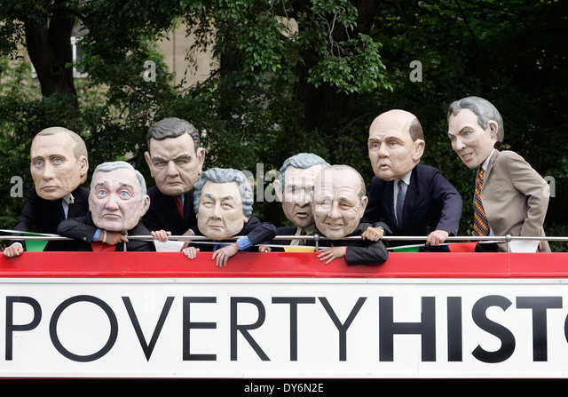 Make Poverty History protest against the G8 summit in Edinburgh. - Stock Image
