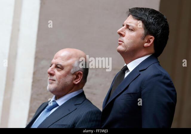 Rome, Italy. 10th February, 2016. Haider Al-Abadi e Matteo Renzi Roma 10-02-2016 Palazzo Chigi. Incontro Italia - Stock Image