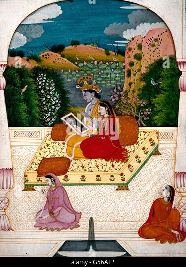 Krishna and Radha looking into a mirror. - Stock Image