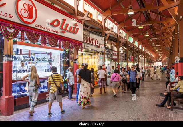 Dubai Gold Souk, Dubai City, United Arab Emirates, UAE, Middle East - Stock-Bilder