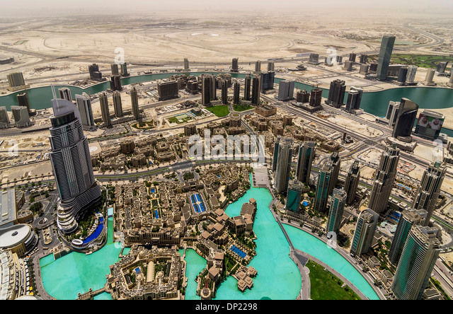View from Burj Khalifa, Dubai, United Arab Emirates - Stock Image