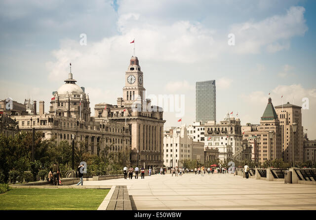 cityscape of the bund in shanghai - Stock Image