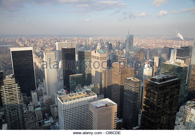 New York New York City NYC Manhattan Midtown 6th Sixth Avenue of the Americas Rockefeller Center Top of the Rock - Stock Image