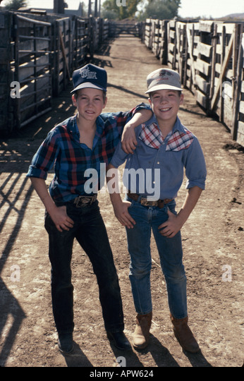 North Dakota Upper Midwest Great Plains State Mandan auction house stockyard boys friends - Stock Image