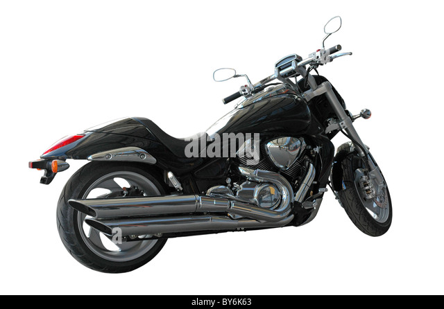 classic motorcycle parking, isolated on white - Stock Image