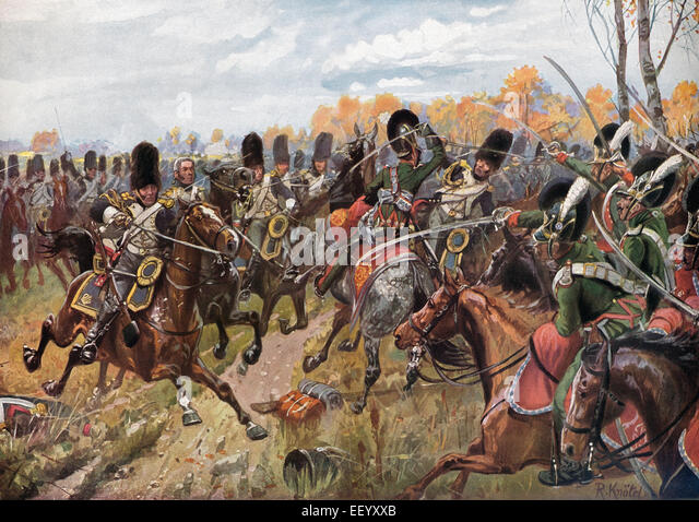 The Bavarian Chevaulegers-Regiment in battle with the cavalry of the Imperial Guard, Battle of Hanau, 30th-31st - Stock Image