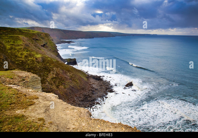 Crackington Haven; view from Cambeak to Tintagel; cornwall - Stock Image